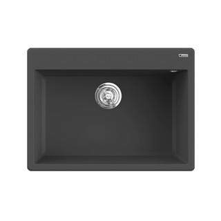 Chậu rửa bát đá KONOX Granite Series Ruvita 680 Black, Made in Italy, Full set gồm Siphon + Giá úp bát inox