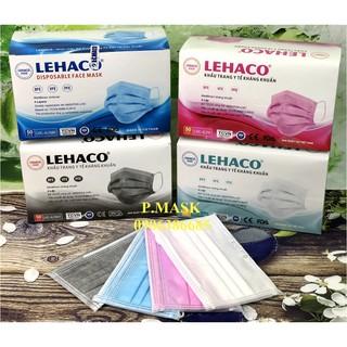 Khẩu trang y tế Lehaco 4 Lớp Màu Hồng Trắng Xanh Xám kháng khuẩn 50 cái hộp - Khẩu trang y tế kháng khuẩn Lehaco thumbnail