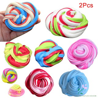 2 Pcs DIY Slime Clay Floam Scented Stress Relief Kids Toy Sludge Cotton Mud Clay Plasticine Gifts