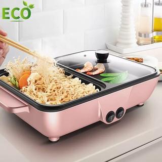 Bếp Lẩu Nướng, Bếp điện 2 ngăn xinh xắn và sành điệu, sử dụng thuận tiện dễ dàng, tiết kiệm không gian,xào rán nấu cơm