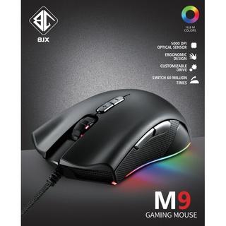 CHUỘT GAMING BJX M9 RGB Led (Cảm biến cao cấp PMW3325, DPI 5000 7 Level, Switch KAILH bất tử 60 triệu lần nhấn)