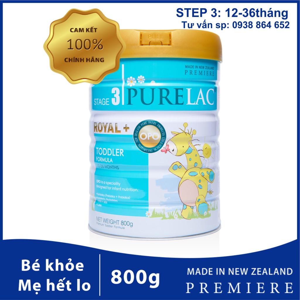 Sữa bột công thức PureLac nhập khẩu New Zealand hộp 800gr cho bé từ 12 dến 36 tháng