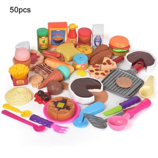 50PCS Children's Simulation Food Kitchen Cooking House Toys