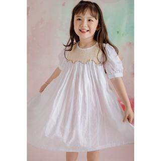 FLORA SMOCKED DRESS - Váy Smock hoa tím bé gái