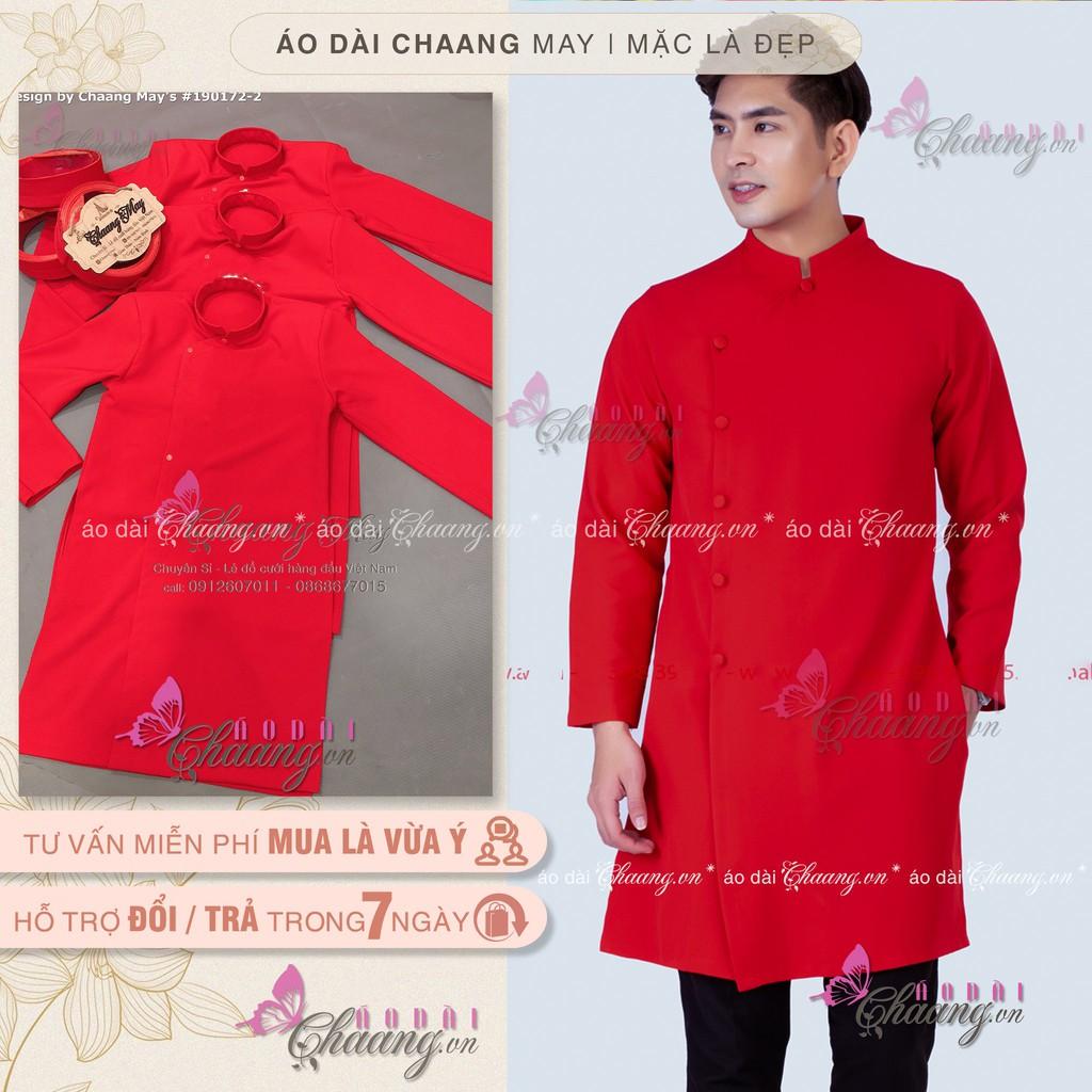 Áo dài cách tân nam_Chaang_May sẵn áo dài nam truyền thống, vải gấm màu đỏ dày