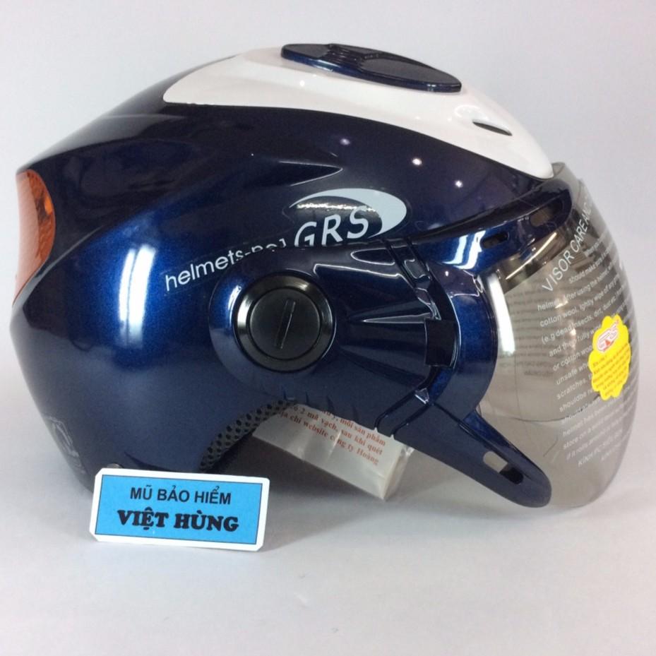 Mũ bảo hiểm GRS A913k Phản quang ( xanh bóng nắp trắng)