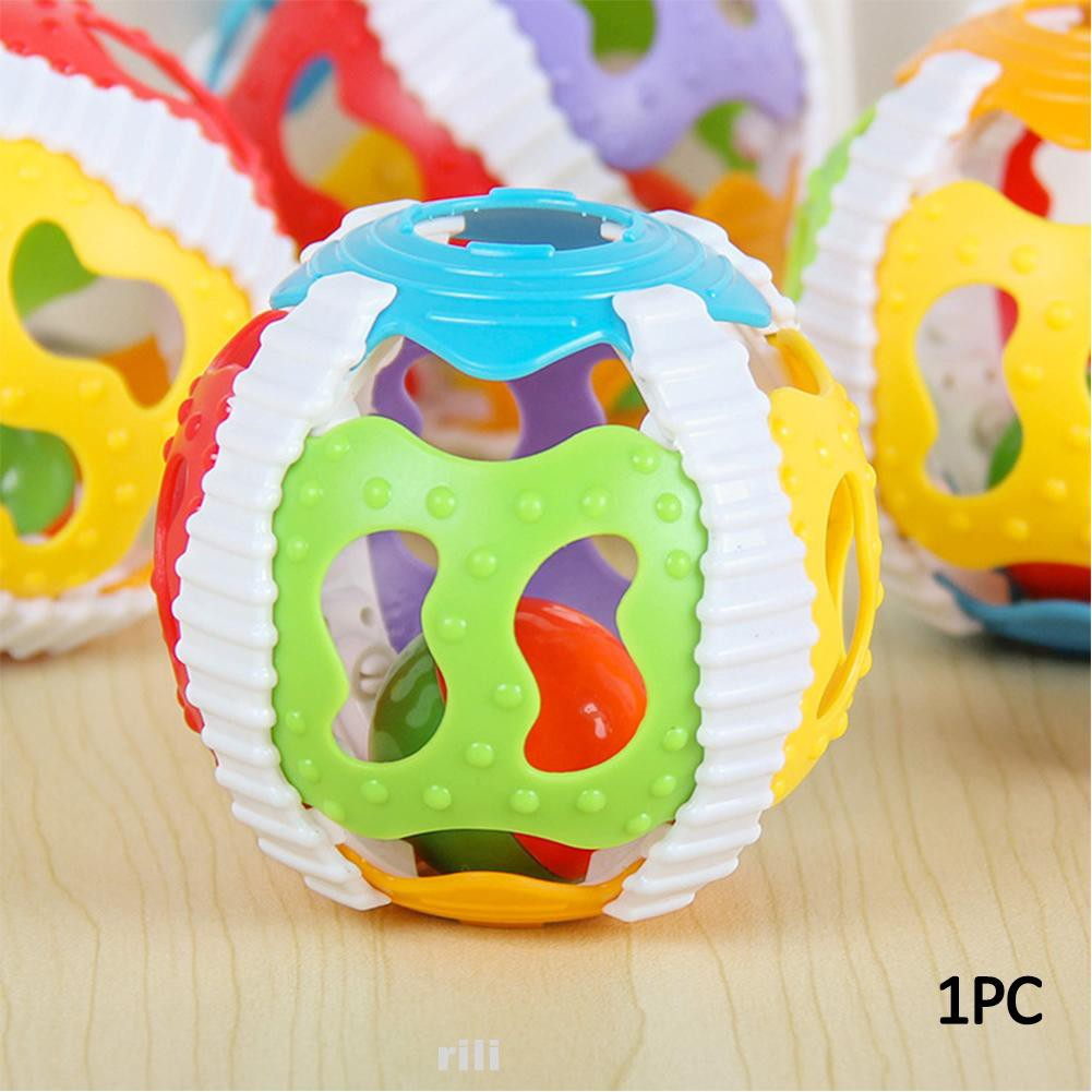 Home Bedroom ABS Soft Funny Portable Educational Toy 6 Color Ball Handrattle