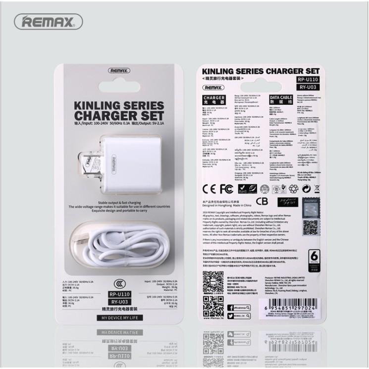 Phích cắm du lịch REMAX 5V/1A cổng sạc USB AC chuẩn Hoa Kỳ & Trung Quốc chống cháy nổ
