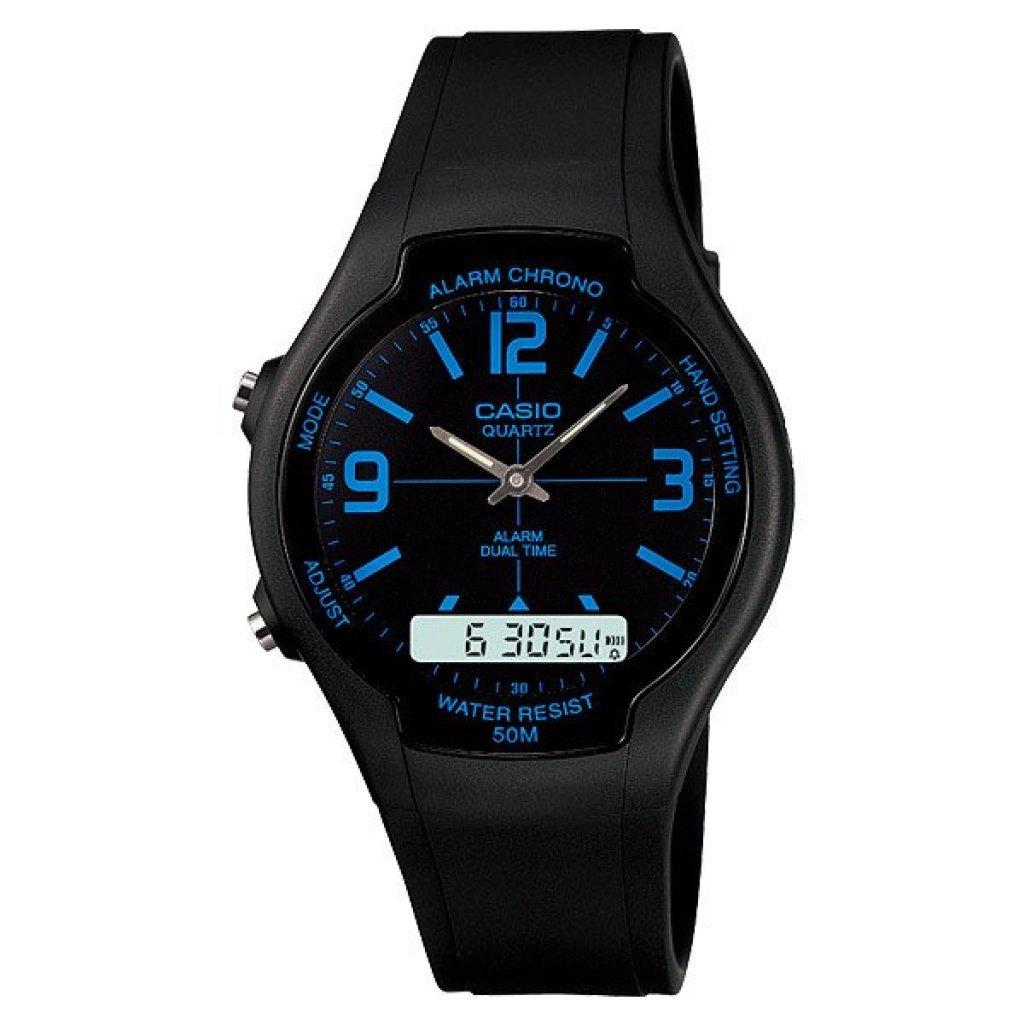 Watch Casio Standard Men นาฬิกาข้อมือ AW-90H-2B - Blacklueatch Casio Standard Men นาฬิกาข้อมือ AW-90H-2B - Blacklue