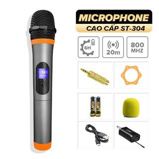 Micro không dây cao cấp C.O.K ST-304, 1 Micro tương thích 1 đầu thu, dành cho loa kéo, amply có cổng 6.5 - BH 6 tháng