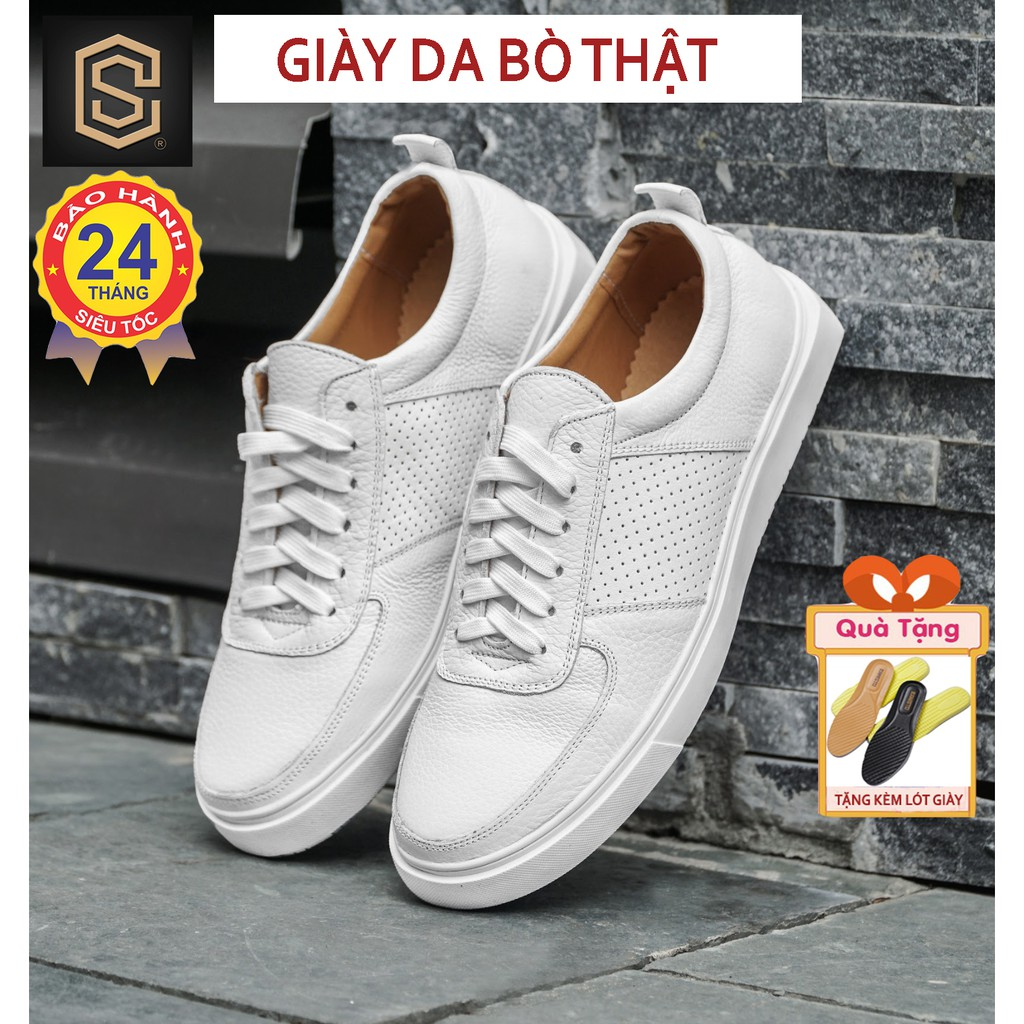 Giày thể thao nam da bò thật nguyên tấm, đế cao su - giầy Sneaker cao cấp cực chất CHEAPSTORE- CS418 (bảo hành 24 tháng)