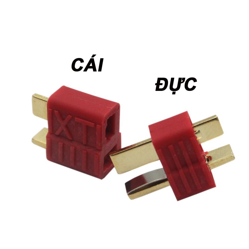Giắc cắm pin lipo chữ T  loại xịn có vân sọc cho xe cano điều khiển, máy bay flycam điều khiển từ xa