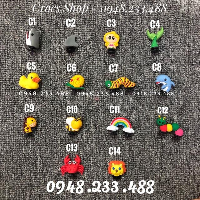 Jibbitz cài dép - charm - nút cài dép - sticker - icon cài dép 3D (C1-C17).Shop ship từ 10 sản phẩm trở lên