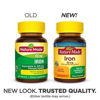 [Mẫu mới 2020-DATE 2323] Viên sắt Nature Made Iron 65mg 190 viên BỔ MÁU