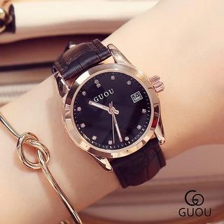 Đồng hồ nữ Guou dây da đen mặt số ngọc viền mạ vàng chính hãng chống nước giá rẻ thumbnail