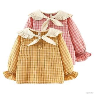 ✨Superseller✨ Autumn Children Baby Girl Long Flare Sleeve Shirts Plaid Print Casual T-Shirt