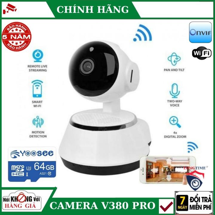 ( Tặng thẻ nhớ 64G yoosee ) Camera wifi V380 pro , Phát hiện chuyển động , đàm thoại hai chiều , xoay 360 độ , camera ip