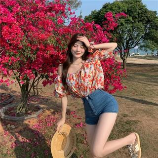 Korean floral sling off-shoulder carefully designed short-sleeved shirt