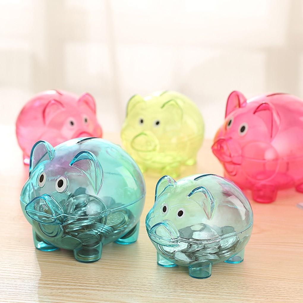 Transparent Plastic Money Saving Box Case Coins Piggy Bank