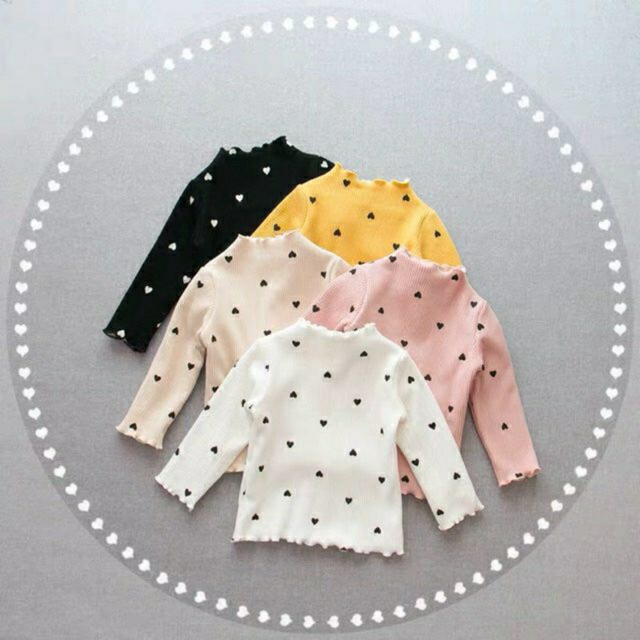 Áo dài tay cotton len hình Tim QATE139 cho bé gái