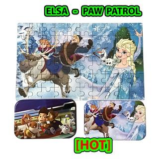 Tranh Ghép Hình Gỗ Hộp Sắt 60 Miếng Nhiều Hình Elsa, Paw Patrol, Car, Peppa Pig – Tranh Ghép Hộp Thiếc