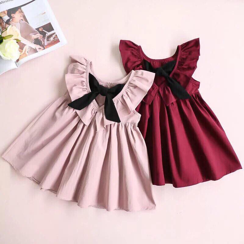 Váy thô nơ cổ cho bé gái