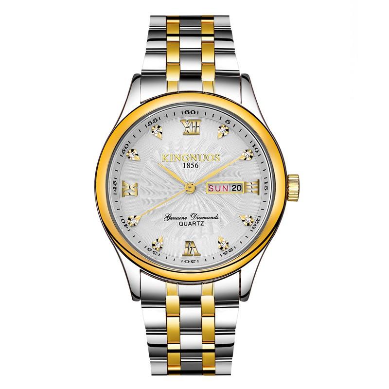 Đồng hồ nam KINGNUOS K1856 chính hãng dây thép không gỉ cao cấp 2 màu