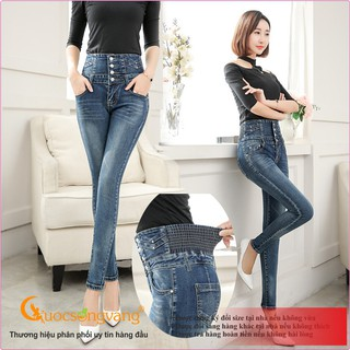Quần nữ quần jean nữ lưng cao lưng thun co giãn GLQ025 bốn nút