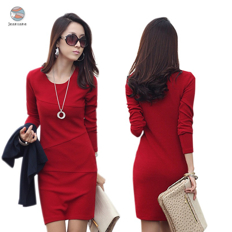 Women Autumn Dress Office Lady Patchwork Slim Fit Long Sleeves Round Neck