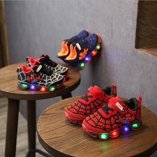 Giày trẻ em người nhện siêu nhân với bề mặt lưới nhẹ giày có đèn phát sáng êm chân