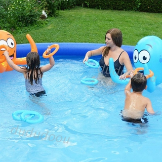 DO❤ Octopus Bath Toy Funny Floating Ring Toss Game Bathing Pool Kids Education Toy