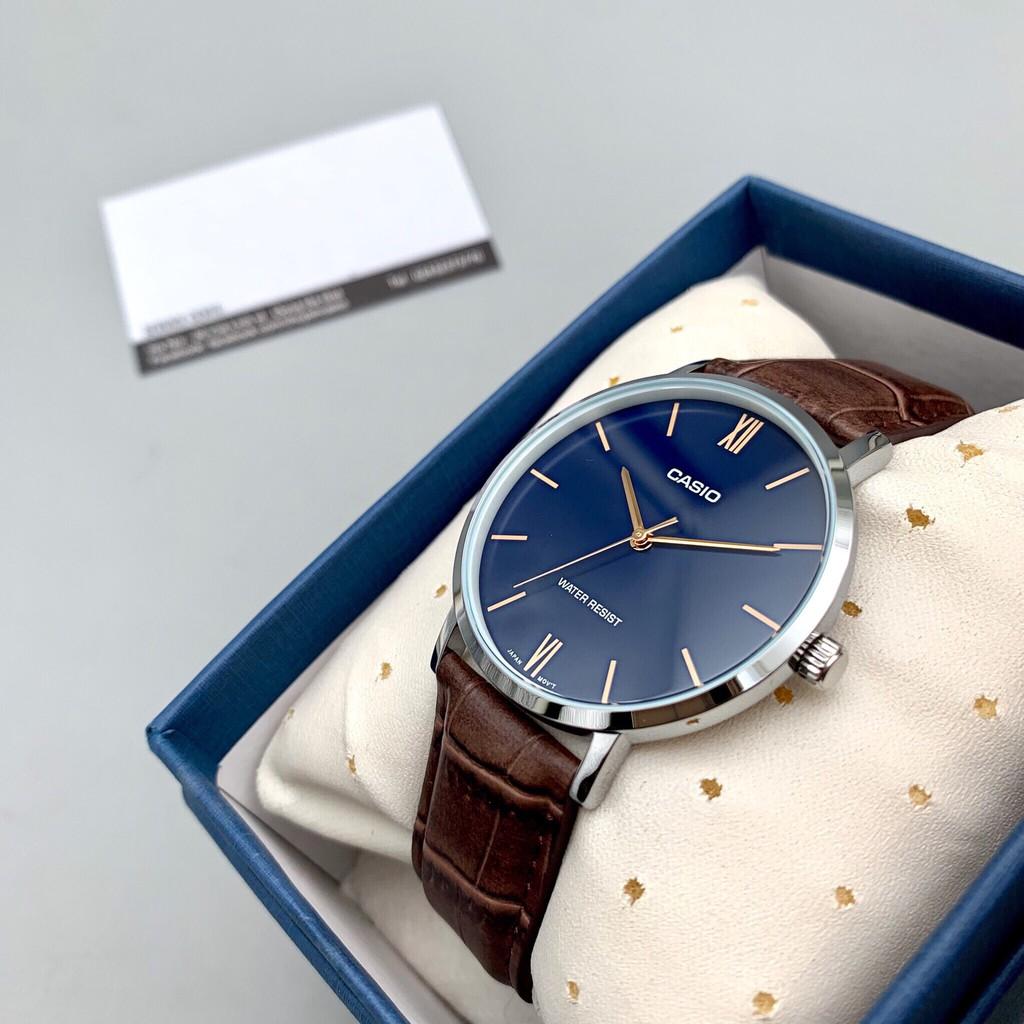 Đồng hồ nam dây da Casio Anh Khuê MTP-VT01L-2BUDF