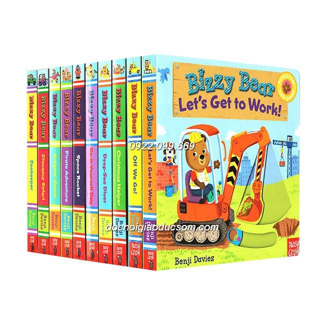 Bộ 10 cuốn Bizzy Bear - Sách push pull slide kéo lật dở tương tác