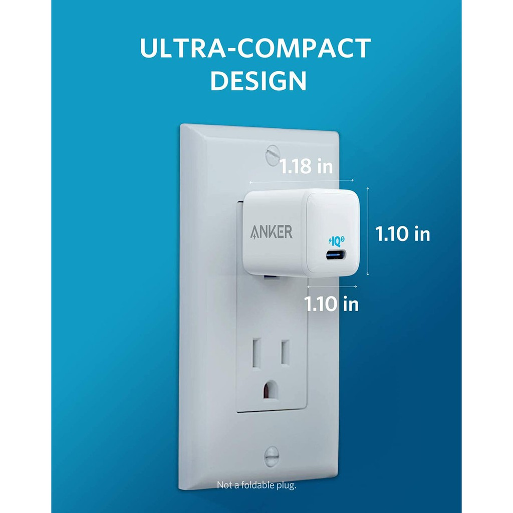 [Mã 267ELSALE hoàn 7% đơn 300K] Cốc Sạc Anker PowerPort III Nano 20W USB-C PowerIQ 3.0 Sạc Nhanh iPhone 12 Series A2633