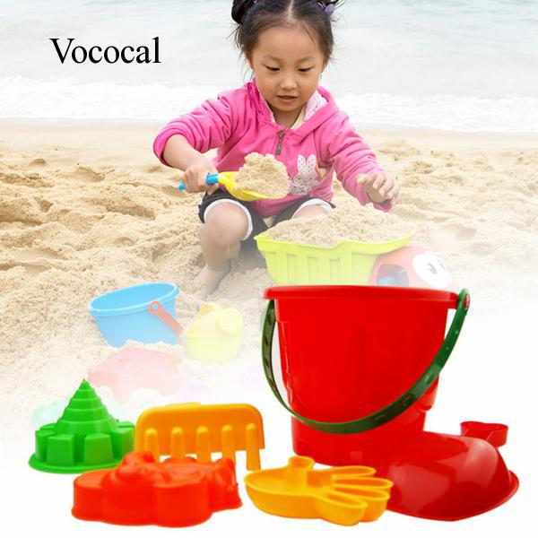 6 PCS Children Babies Kids Sand Beach Rake Bucket Spoon Tower Elephant Hand Model Toys Play Set