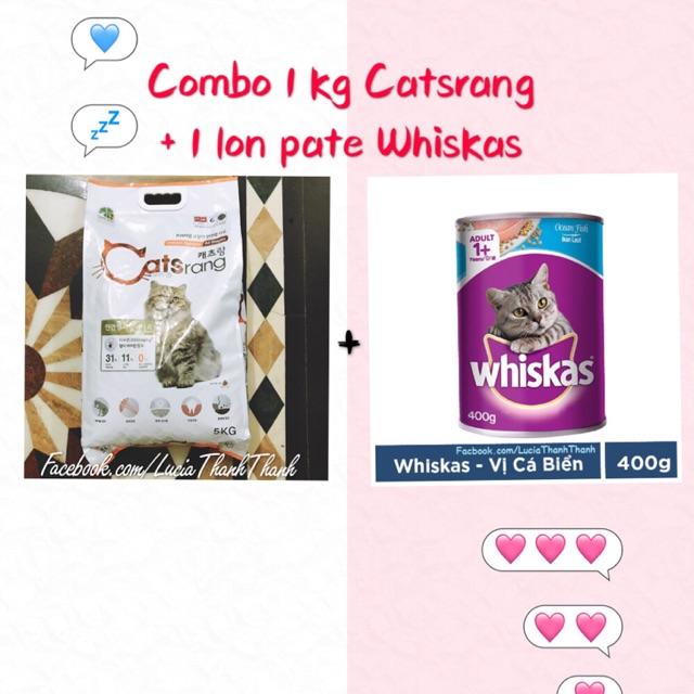 [Freeship HCM trên 150k] Combo 1 kg hạt Catsrang + 1 lon pate Whiskas 400gr