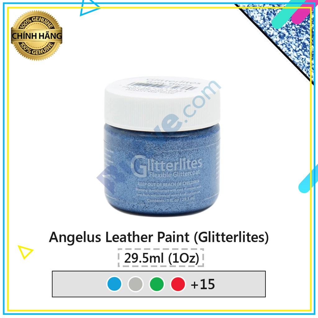 Màu acrylic kim tuyến vẽ lên da vải Angelus Leather Paint (Glitterlites) – 29.5ml (1Oz)