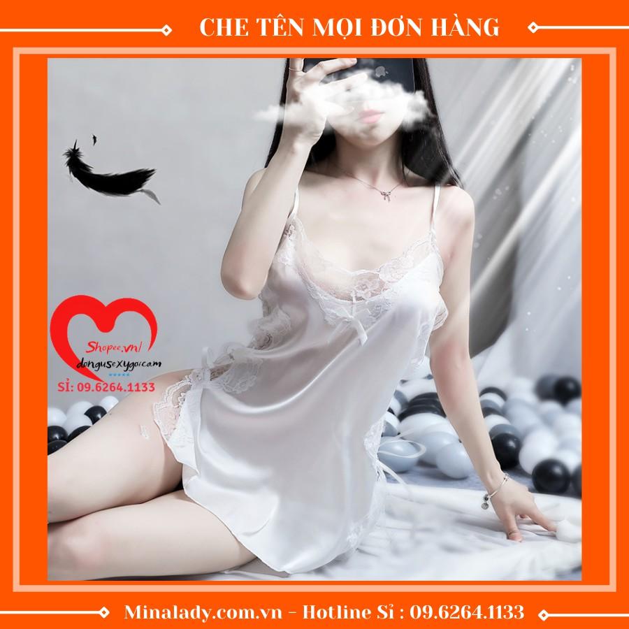 Mặc gì đẹp: Ngủ ngon hơn với Đồ Ngủ Sexy Gồm Váy Ngủ Sexy Nữ Gợi Cảm Lụa 2 Dây Sexy Dễ Thương Và Quần Lót Lọt Khe Nữ Sẽy Không Kèm Mút Ngực -Đan Dây