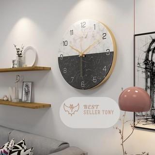 Đồng hồ treo tường trang trí Luxury Gỗ Nordic Marble Wall Clock