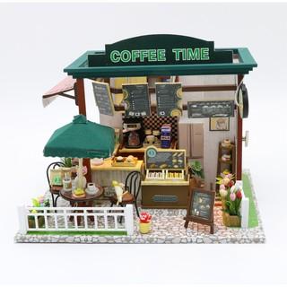 Mô hình nhà gỗ búp bê Coffe Time (bộ dụng cụ + mica)