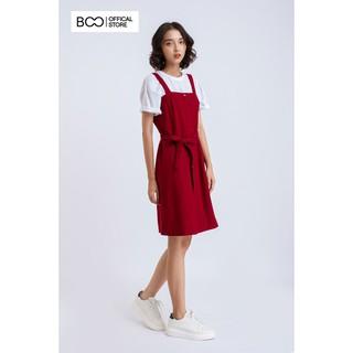 Đầm váy yếm dạ BOO trơn màu, thắt dây eo thumbnail