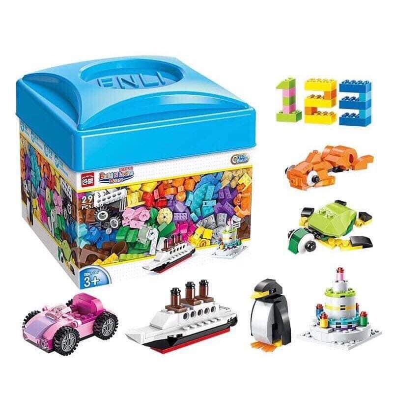 Bộ đồ chơi LEGO cho bé 460 miếng kích thích trí tuệ cho bé chất liệu nhựa ABS an toàn (hộp vuông)