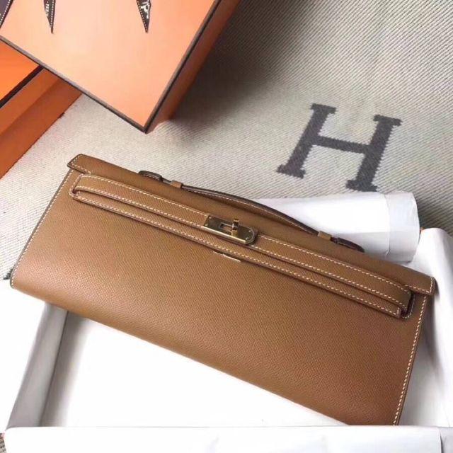 Hermes Kelly cut Clutch Gris Asphalte Tan