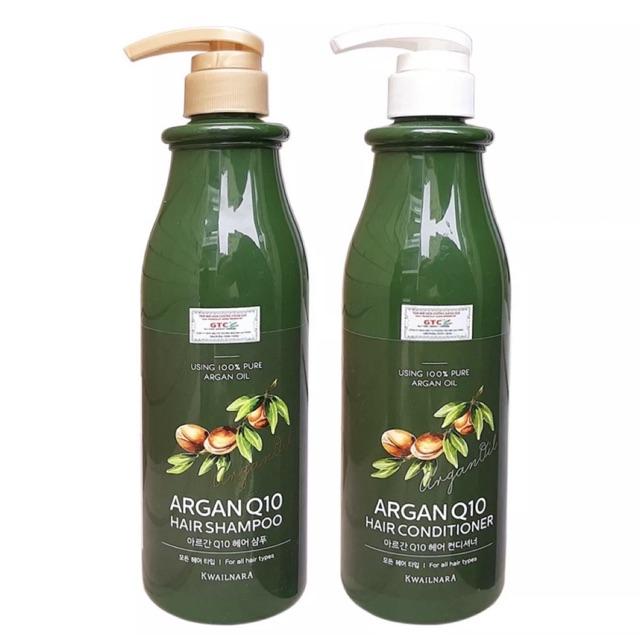 Cặp dầu gội xả thảo dược tinh chất Argan Q10 ngăn ngừa rụng tóc Kwailnara Hàn Quốc