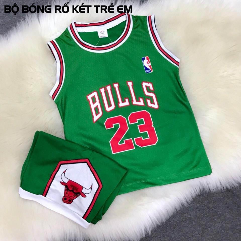 Bộ quần áo bóng rổ trẻ em Chicago Bulls 23 xanh kécVải thun mặc mát - Thấm hút m
