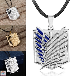 ❤PG❤ Attack on Titan Survey Corps Logo Pendant Cosplay Necklace Anime Cosplay Jewelry Gifts for Men Woman