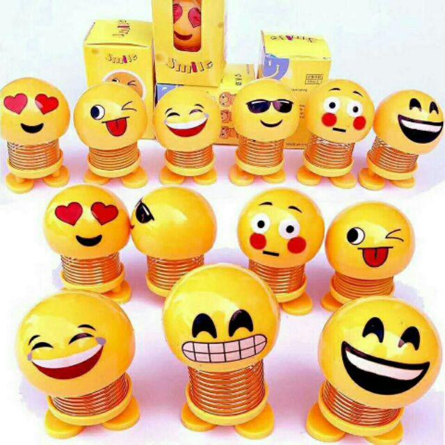 (T02-C01) Combo 06 em Smiling face – Đồ chơi emoji nhún lò xo, emoji lò xo ngộ nghĩnh, đồ chơi mặt cười dễ thương