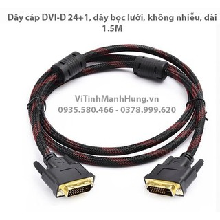 [Mã ELORDER5 giảm 10k đơn 20k] Dây cáp DVI 24+1, dây bọc lưới, có chống nhiễu, dài 1.5M.
