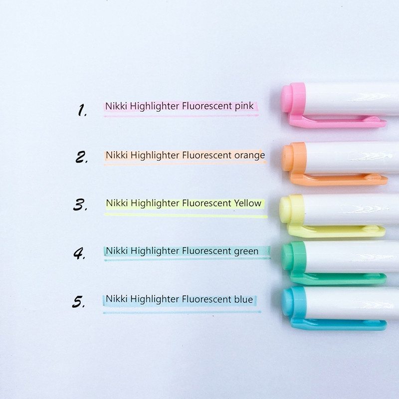 Bút lông dạ quang NIKKI hai đầu hỗ trợ ghi chú tiện dụng