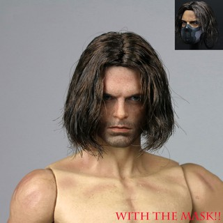 1/6 Planted Hair Head Winter Soldier Bucky James Buchanan Barnes 2.0 Head Carved w the mask For 12″ Doll Action Figure